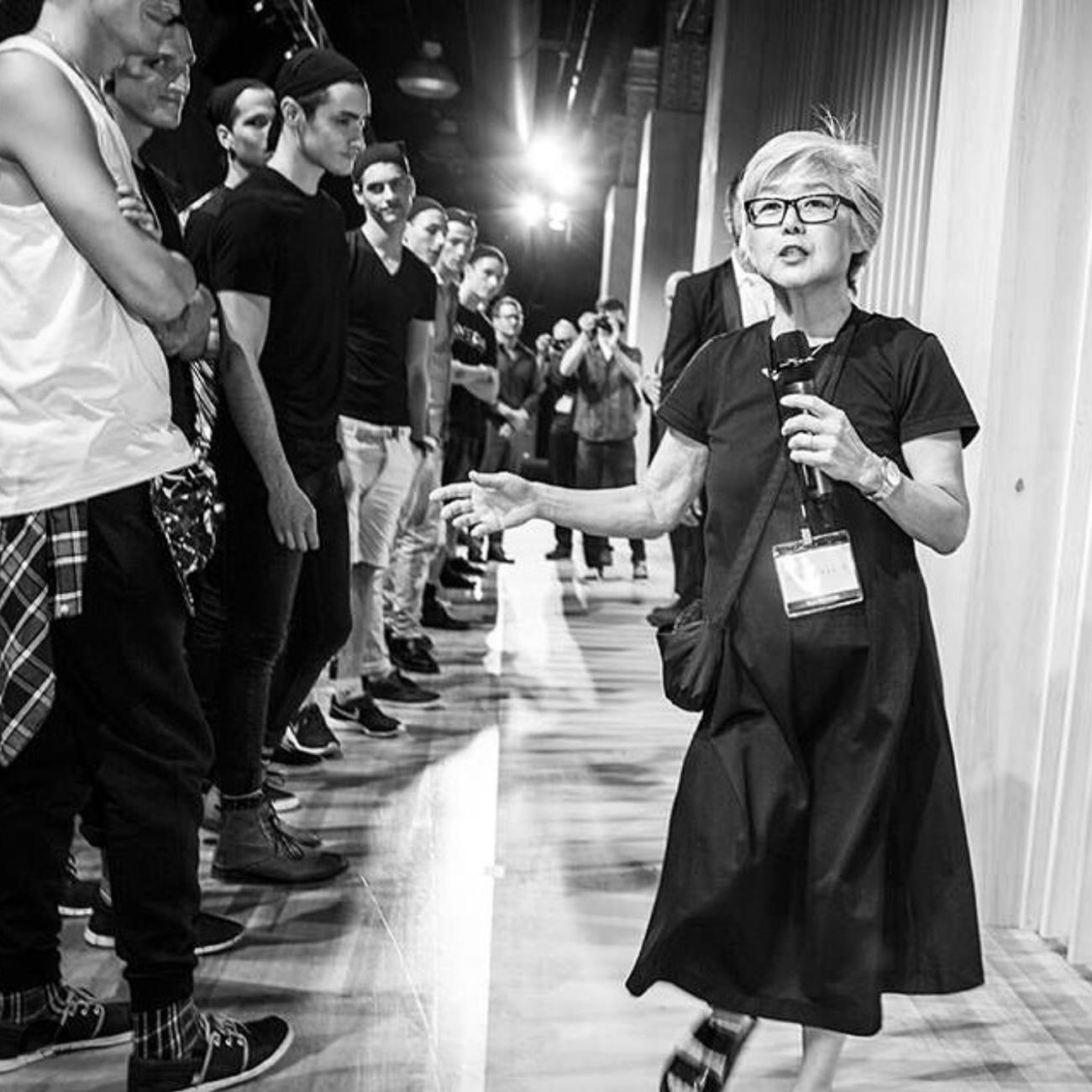 Lynne Oneill directs men's fanshio show